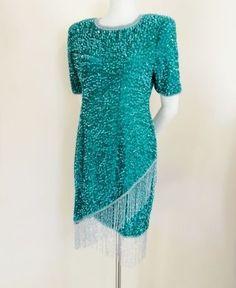 100% Silk Heavily Beaded Green & Silver Fringe Cocktail Dress M-L from vfv on Ruby Lane  $38   http://www.rubylane.com/item/676693-C552/100-Silk-Heavily-Beaded-Green