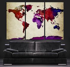 Purple Predomanantly Colorful World Map Canvas Print - Contemporary 3 Panel Triptych Colorful Abstract Rainbow Colors Large Wall Art