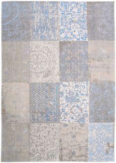 Patchwork vloerkleed | wollen vloerkleed in beige en blauw