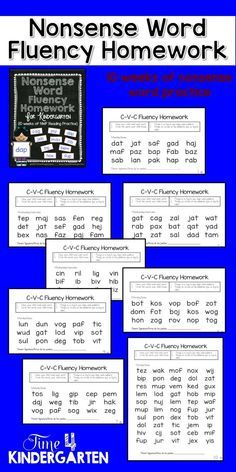 Nonsense word fluency homework for kindergarten. If students are able to read nonsense words then they will be able to decide unknown words. https://www.teacherspayteachers.com/Product/Nonsense-Word-Fluency-Homework-1909502