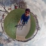 360° Panoramic Video Creates the Illusion of a Man Riding a Bike around a Tiny World