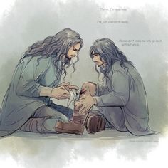 """""""It's just a scratch."""" """"No, it's an orc WOUND. Now, just hold still a moment..."""""""