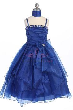 Royal Blue Organza Sequined Flower Girl Dress G3477-RB G3477-RB $58.95 on www.GirlsDressLine.Com