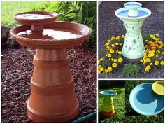bebedouro de pássaros feito com vasos de planta e pratos de vasos