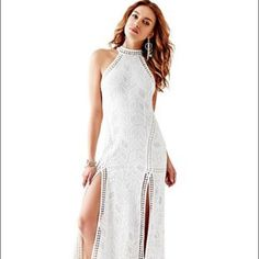 Guess White Maxi Dress With Open Back