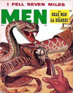 """Men"" Adventure Magazine   Male-Centric Pulp Art Illustration   Sugary.Sweet   #Pulp #PulpArt #Illustration #Vintage #Men"