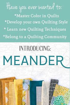 The Meander Quilt Guild. Start your quilting journey and explore quilt styles, quilting techniques, and master choosing color in quilts. Quilting For Beginners, Quilting Tips, Quilting Tutorials, Sewing For Beginners, Quilting Projects, Quilting Designs, Sewing Tutorials, Sewing Ideas, Machine Quilting