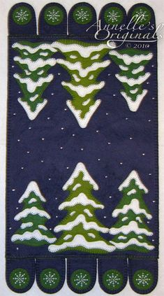 Christmas Winter Snowy Penny Rug Mat Wool Applique Pattern & Wool Felt Kit…