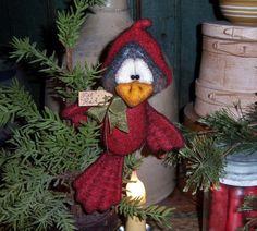 "Primitive Cardinal Bird Bear 7"" Doll Vtg Patti's Ratties Ornament Christmas Gift"