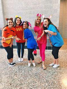 Winnie the Pooh character costumes!, Winnie the Pooh character costumes!, Winnie the Pooh character costumes!, Winnie the Pooh character costumes! Disney Group Costumes, Cute Group Halloween Costumes, Friend Costumes, Cute Halloween Costumes, Disney Halloween, Easy Book Character Costumes, Group Halloween Costumes For Adults, Original Halloween Costumes, Barbie Halloween