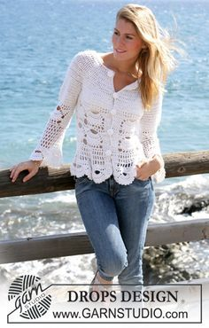 "DROPS crochet jacket with mussel pattern in ""Alpaca"" and ""Cotton Viscose"". Size S - XXL ~ DROPS Design free crochet pattern"