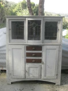 Vintage 1920's/30's Kitchen Dresser Leadlight Windows Industrial Shabby Chic