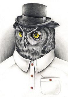 Mister Owl by Kate Powell Art