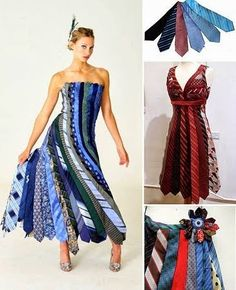 A dress made out of ties what do u think ? Clothes Crafts, Sewing Clothes, Revamp Clothes, Thrift Store Refashion, Recycled Dress, Recycled Clothing, Newspaper Dress, Sweater Refashion, Altered Couture