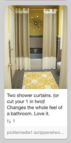 Shower curtain idea. Like the color of the tile.