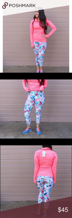 ❤LOWEST❤Jacket&Crop Pant Workout Bundle THE CUTEST WORKOUT BUNDLE EVER!!!!! Hello pretty in pink! Score this small Under Armour half zip top and these fun print crop pants! The pants(not UA) are super comfy and are mid rise with a thick band. Both brand new with tags.   •No Trades• Under Armour Jackets & Coats