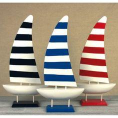 NA 72330 Modellino yacht legno vele a strisce nauticalia
