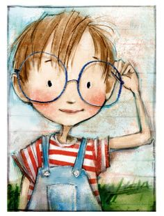 by Patrice Barton . Love the & big for his face& glasses and the stick skinny arms! Art And Illustration, Character Illustration, Dibujos Cute, Whimsical Art, Cute Drawings, Cute Art, Painting & Drawing, Illustrators, Art For Kids