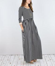 Look at this #zulilyfind! Black & White Stripe Contrast-Cuff Maxi Dress #zulilyfinds