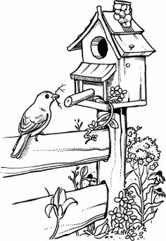 & Fence Birdhouse & Fence - -Birdhouse & Fence - - B-Line Designs - Cling Stamp - Wishing Well Free Coloring Pages: Get Instant Access to the Coloring Page Library Northwoods Rubber Stamps - Morning Glories and Birdhouses Free Digi Stamps Pencil Art Drawings, Bird Drawings, Art Drawings Sketches, Easy Drawings, Wood Burning Patterns, Wood Burning Art, Pyrography Patterns, Form Design, Coloring Book Pages