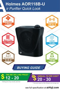 Holmes AOR118B-U air purifier review, price guide, filter replacement cost, CADR and complete specification. #holmes #airpurifier #aircleaner #cleanair