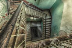 Christian Richter shoots urban decay with passion, actively searches for interesting abandoned buildings and turning them into work of art. Old Abandoned Buildings, Old Buildings, Abandoned Places, Stairway To Heaven, Urban Decay Photography, Building Stairs, Abandoned Hospital, The Secret History, Stairways