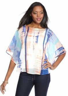Ruby Rd  Petite On the Fringe Printed Woven Butterfly Top