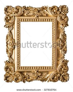 Picture Frame Baroque Style Vintage Art Gold Object Isolated On White Background Photo