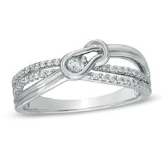 1/8 CT. T.W. Everlon Diamond Knot Promise Ring in Sterling Silver- I would also love this either as an engagement or wedding ring :)