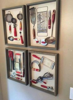 Love this idea for my old kitchen utensils! - Love this idea for my old kitchen utensils! Old Kitchen, Kitchen Redo, Country Kitchen, Kitchen Display, Primitive Kitchen, Antique Kitchen Decor, Red Kitchen Decor, Kitchen Decorations, Kitchen Wall Art