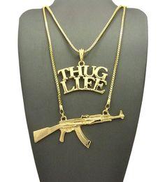 "Hip Hop Rapper's Thug Life & Gun Pendant 24"",30"" Box Chain 2 Necklace Set RC1724 | Jewelry & Watches, Men's Jewelry, Chains, Necklaces & Pendants | eBay!"
