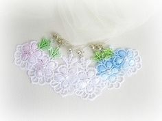 Lace flowers earrings choose you color white by MalinaCapricciosa