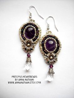 Bead Embroidery Earrings Amethyst Hill Tribe by PreciousHeartBeads, $45.00