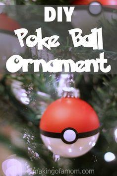 DIY Poke Ball Christmas Ornament, so easy and quick!