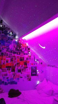 tik tok aesthetic led bedroom lights collage neon inspo inspiration vsco rooms indie projector lit tiktok teen bedrooms vibey quarto