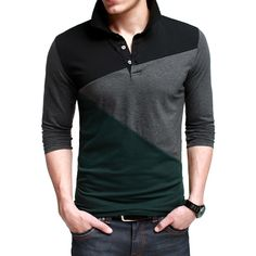 Kuegou Fashion Color Block Polo Shirt Code: 20148443 - Men's Polo Shirts - Men's Clothing at Clothing.net