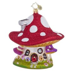 Christopher Radko Mushroom Hideaway Ornament from Borsheims Classic Christmas Decorations, Retro Christmas, Holiday Fun, Christmas Ideas, Radko Christmas Ornaments, Christmas Tree Ornaments, Christopher Radko Ornaments, Personalized Ornaments, Merry Christmas And Happy New Year