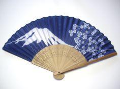 Fuji & cherry blossom fan (nylon and bamboo)