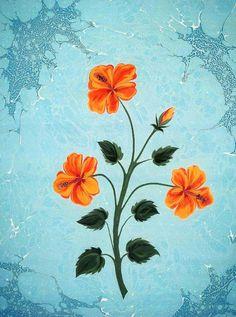 Ebru Art, Iranian Art, Turkish Art, Marble Art, Arabic Art, Botanical Illustration, Botanical Prints, Mosaic Art, Islamic Art