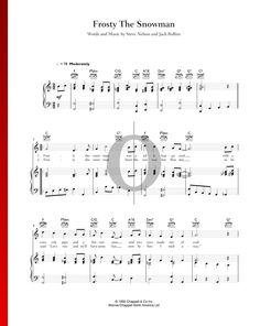 Frosty The Snowman by Bing Crosby - Piano Sheet Music Frosty The Snowmen, Snowman, Bing Crosby, Piano Sheet Music, Special Occasion, Traditional, Holiday, Vacations, Holidays
