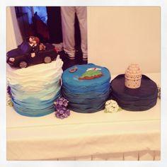 Blue ruffled wedding cake