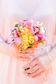 Colorful & tropical bridesmaid bouquet.