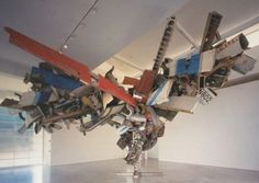 Erratic; Nancy Rubin; Cha's Stainless Steel, Mark Thompson's Airplane Parts, About 1000 Pounds of Stainless Steel Wire, and Gagosian's Beverly Hills Space