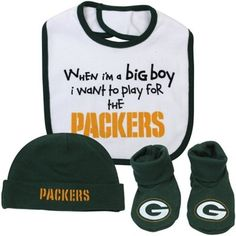 Gerber Green Bay Packers Newborn 3-Piece Bib, Bootie & Beanie Big Boy Set – Green/White