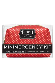 This adorable red & gold polka dot pouch (with a charming apple zipper pull) contains 18 educator essentials. Throw it in your purse or desk and be prepared for anything. Contains: adhesive bandage emery board hand cleaning towelette dental floss earring backs blister balm clear elastics bobby pins gold star stickers lip balm red pen breath freshener pain reliever double-sided tape deodorant towelette stain remover safety pin & mending kit.  Teachers Kit by Pinch Provisions. Home & Gifts…