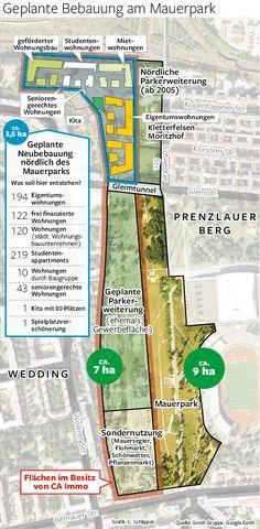 Die geplante Bebauung des Mauerparks zeigt dieses Luftbild des gesamten Gebietes der Grenze zwischen den Berliner Bezirken Mitte und Pankow Infografik: C.Schlippes Erschienen in der Berliner Morgenpost