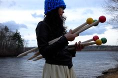 Giant knitting needles - size 50 (25mm), straight, 32'' long