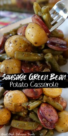 Green Beans And New Potatoes Recipe, Sausage And Green Beans, Smoke Sausage And Potatoes, Sausage Potato Casserole, Greenbean Casserole Recipe, Easy Casserole Recipes, Smoked Green Beans, Entree Recipes, Supper Recipes