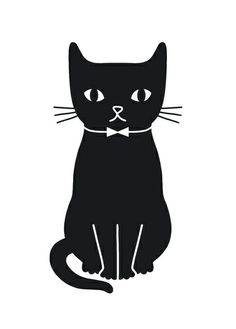 〽️Black cat art print by Audrey Jeanne is called simply Cat. #blackcats