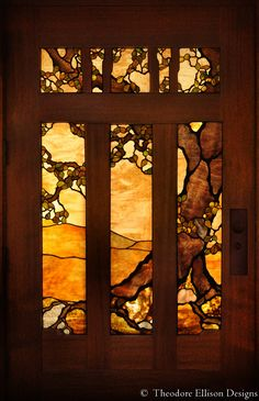 Oak tree stained glass entry - Theodore Ellison Designs More